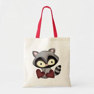 Raccoon-Taschentasche des Valentines Tages Budget Stoffbeutel