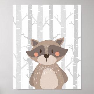 Raccoon-WaldtierKinderzimmer-Wand-Kunst-Druck Poster
