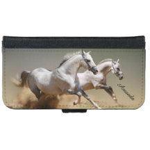 Race The Wind Horses and Monogram Name iPhone 6 Wallet Case