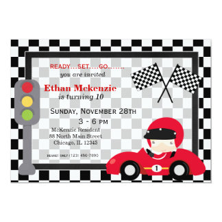 Racecar Geburtstag 12,7 X 17,8 Cm Einladungskarte