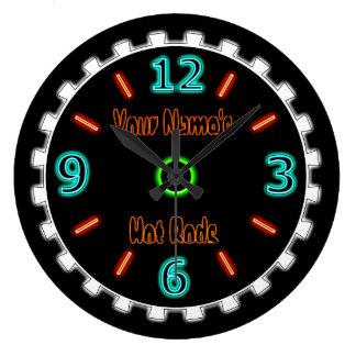 Rad-cooles Imitat-Neon (personalisiert) Große Wanduhr