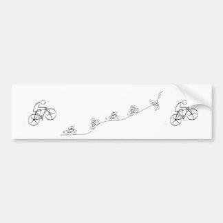 Radfahrer, der über den Hügel hinausgeht Auto Sticker