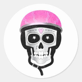 Radfahrer-oder Radfahrer-Zuckerschädel Runder Aufkleber
