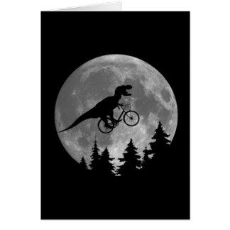 Radfahrer t rex im Himmel mit Mond-80er Parodie Karte