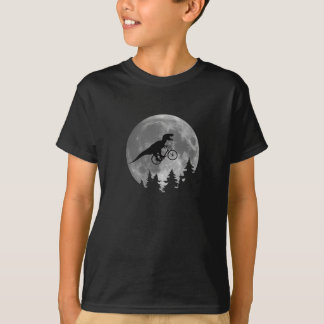 Radfahrer t rex im Himmel mit Mond-80er Parodie T-Shirt