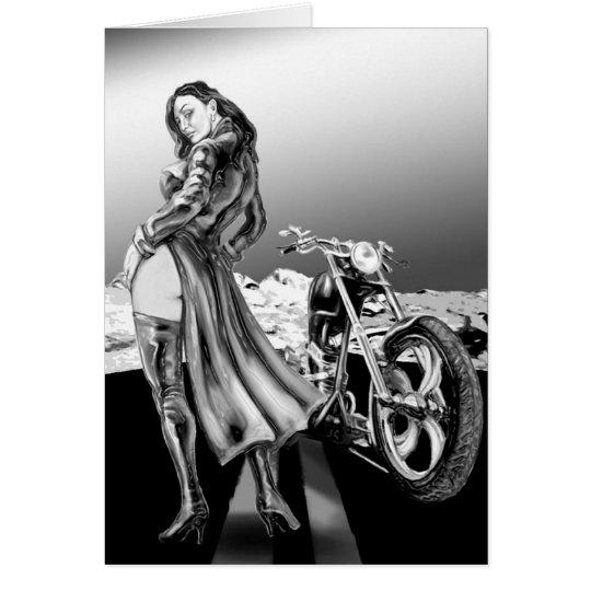 Radfahrermädchen Grußkarte