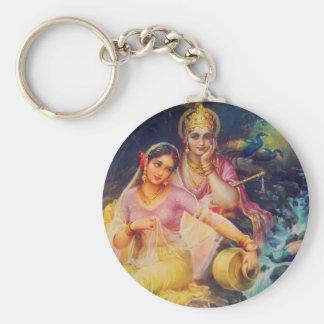 Radha und Krishna Knopf Standard Runder Schlüsselanhänger