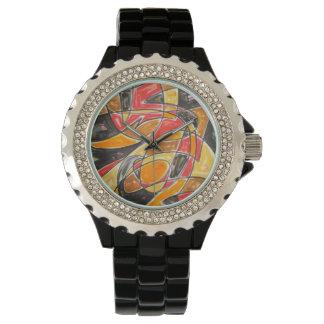 Radioaktive Liebe-Abstrakte Kunst handgemalt Uhr