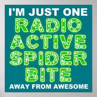 Radioaktives Spinnen-Biss-Plakat-Zeichen Poster