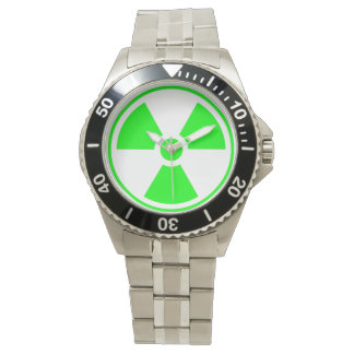 Radioaktives Strahlungs-Symbolgrün und -SCHWARZES Armbanduhr