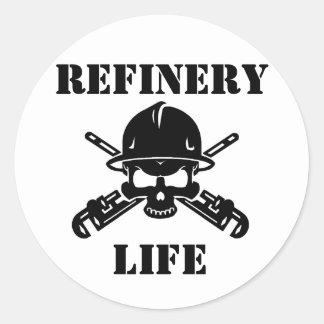 Raffinerie-Leben-Aufkleber Runder Aufkleber