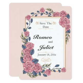Rahmen der Rosen, die Save the Date Karte Wedding