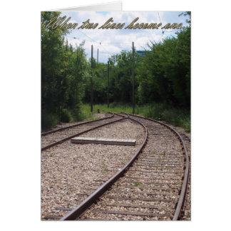 Railroad, wenn zwei Leben eine Hochzeits-Karte Karte