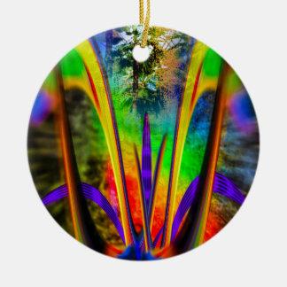 Rainbow Flower Rundes Keramik Ornament