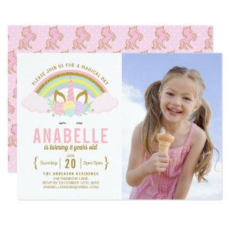 Rainbow Glitter Unicorn Photo Birthday Invitation Karte