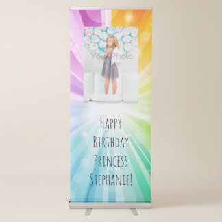 Rainbow Glow Girls Birthday Sign Banner