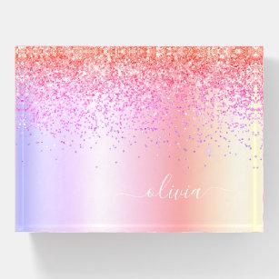 Rainbow Pastel Girly Glitzer Metal Monogramm Name Briefbeschwerer