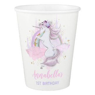 Rainbow Unicorn Birthday Paper Cup Pink Gold Cup Pappbecher