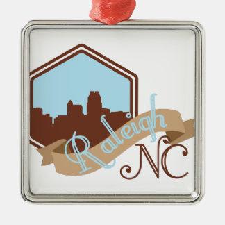 Raleigh NC Quadratisches Silberfarbenes Ornament