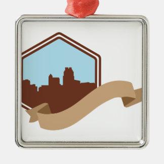 Raleigh, NC Quadratisches Silberfarbenes Ornament