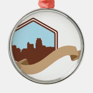 Raleigh, NC Rundes Silberfarbenes Ornament