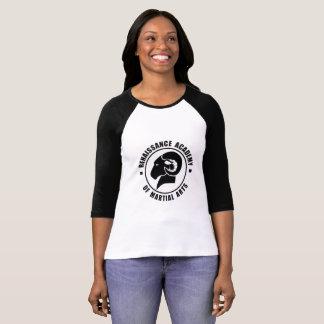 RAM-T-Stück die Hülse der Damen Schwarzweiss-3/4 T-Shirt