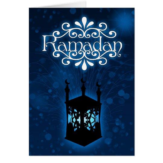 Ramadan-Kartenblau mit Lampe Karte