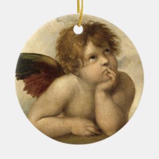 RAPHAEL-Engel 1 Rundes Keramik Ornament