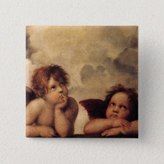 RAPHAEL, Sistine Engel Quadratischer Button 5,1 Cm