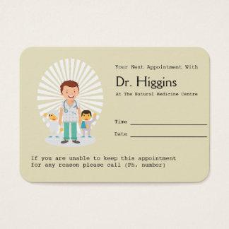 Rappel de médecin de famille rendez-vous cartes de visite