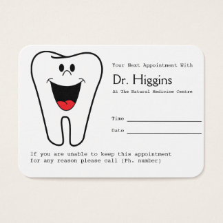 Rappel heureux de rendez-vous de dentiste de dent cartes de visite