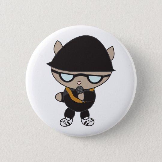 Rapper-Katze in Bell-Hut Runder Button 5,1 Cm