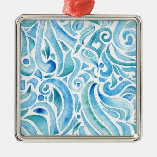 rapport WELLEN 2 Quadratisches Silberfarbenes Ornament