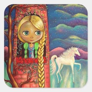 Rapunzel im rosa Turm mit Einhorn-Freund Quadratischer Aufkleber