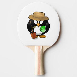 Raquette De Ping Pong Agriculteur adorable de pingouin de bande dessinée
