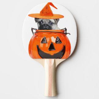 Raquette Tennis De Table Chien de carlin de Halloween