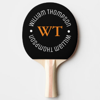 Raquette Tennis De Table noir de nom (monogramme de cercle)