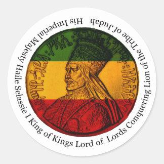 Rasta Aufkleber, der Löwe von Judah Seine Majestät Runder Aufkleber