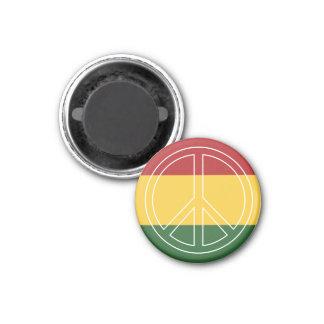 Rasta färbt Friedenssymbol Runder Magnet 3,2 Cm