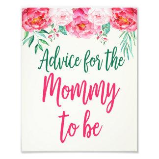 Rat für Mama-Zeichen, BlumenBabyparty, mit Blumen Fotodruck