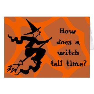 Rätsel-Halloween-Hexe Grußkarte