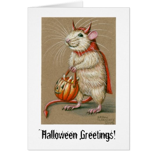 Ratten-Teufel, Halloween-Grüße! Karte