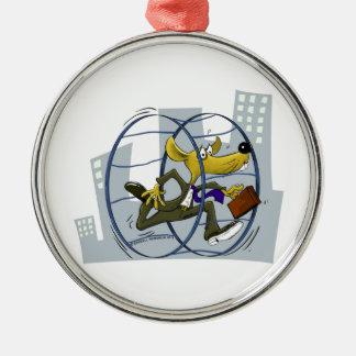Rattenrennen Rundes Silberfarbenes Ornament