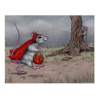 Rattenteufel-Halloweengehen Postkarte