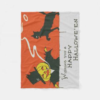 Rauchende Vogelscheuche-Jack O Laternen-schwarze Fleecedecke