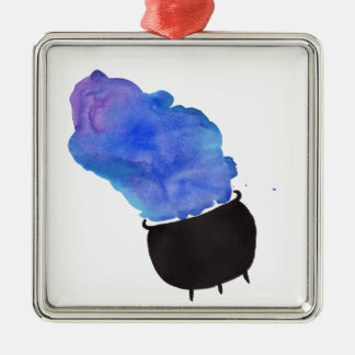 Rauchender großer Kessel Quadratisches Silberfarbenes Ornament