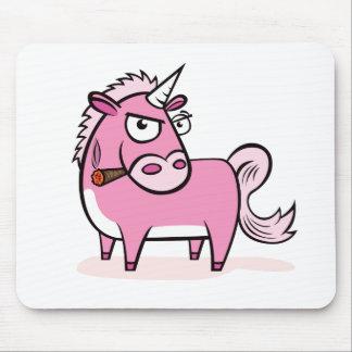 Rauchendes rosa Einhorn Mousepads