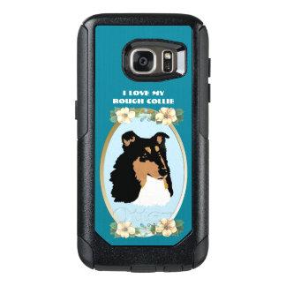 Rauer Collie auf aquamarinem Blumen OtterBox Samsung Galaxy S7 Hülle