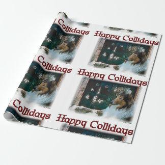 Rauer Collie glückliches Collidays Weihnachten Geschenkpapier