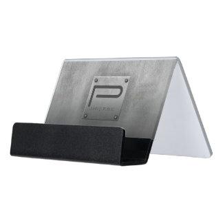 Raues Metallplattengrau ID327 Schreibtisch-Visitenkartenhalter
